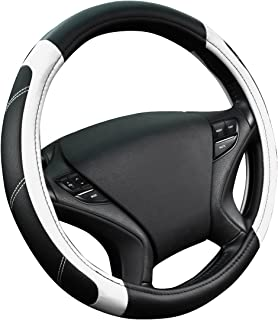 CAR PASS Line Rider Leather Universal Steering Wheel Cover fits for Truck,SUV,Cars(Black and White)