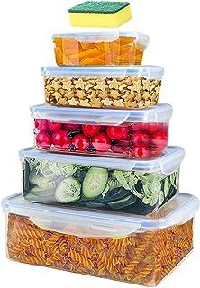 EigPluy Lot de 5 boîte de Conservation Alimentaire,Conteneur Alimentaire Plastique avec Couvercles Hermétiques,Conteneur d...