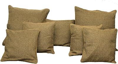 Kuber Jute Cushion Cover Set, Brown, Standard, CUSHIONVELNC40, 7 Pcs