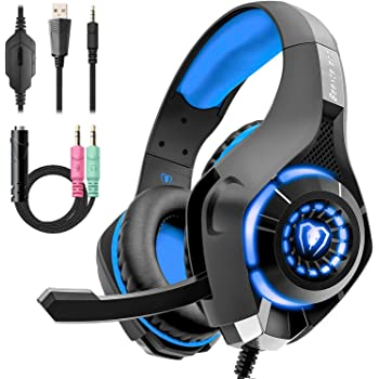 Beexcellent ゲーミングヘッドセット PS4ヘッドセット 高音質 マイク付 3.5mm 軽量 耐久 伸縮可能 (ブルー)