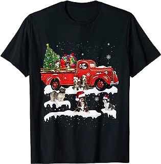 Tibetan Terrier Riding Red Truck Xmas Merry Christmas Gifts T-Shirt