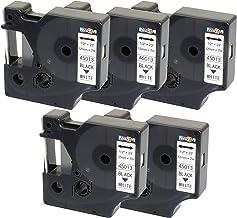 5 x Compatible D1 45013 Black on White Tape (12mm x 7m) para Dymo Electronic Labelmakers - Cintas para impresoras