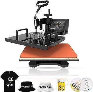 SUNCOO 6 in 1 Heat Press Transfer Machine Hot Pressing Vinyl Digital Sublimation Combo Kit for T-Shirt/Mug/Hat/Cap/Ceramic 360 Degree Swing Away 12x15