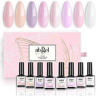Abgel Nude Gel Nail Polish Set - Purple Pink Glitter Milky White 8 Colors Nude Gel Polish Kit,Popular Nail Art Design Soak...