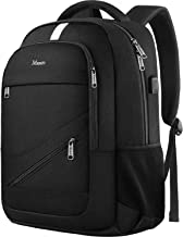 Laptop Backpack for Men, RFID Anti Theft Water Resistant College School Bookbag with USB Charging Port for Women, Mancro Durable Business Travel Computer Bag Fits 15.6 Inch Laptop and Notebook, Black