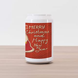 Ambesonne Christmas Cola Can Shape Piggy Bank, Happy New Year Retro Illustration with Santa Claus Holding Yellow Bird, Ceramic Cola Shaped Coin Box Money Bank for Cash Saving, Ivory Orange