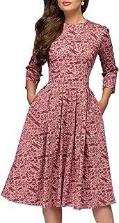 Women's Floral Evening Flare Vintage Midi Dress 3/4 Sleeve