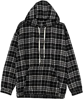 Comaba Men's Plaid Relaxed-Fit Hooded Casual Pocket Front Sweatshirt Suits Tracksuits