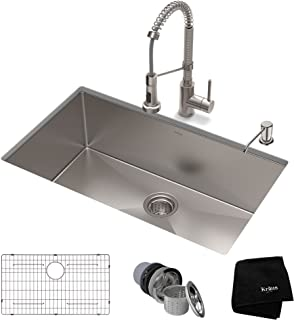 KRAUS KHU100-30-1610-53SS Set with Standart PRO Stainless Steel Sink and Bolden Commercial Pull Faucet Kitchen Sink & Faucet Combo, 30 inch