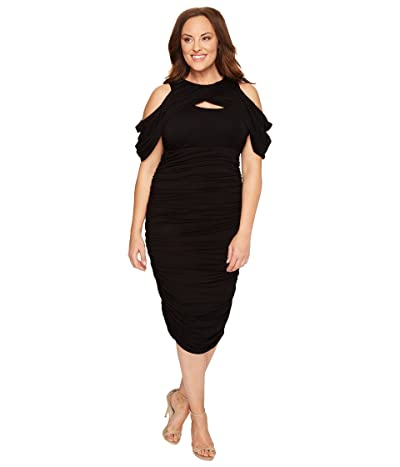 Kiyonna Bianca Ruched Dress (Black Noir) Women