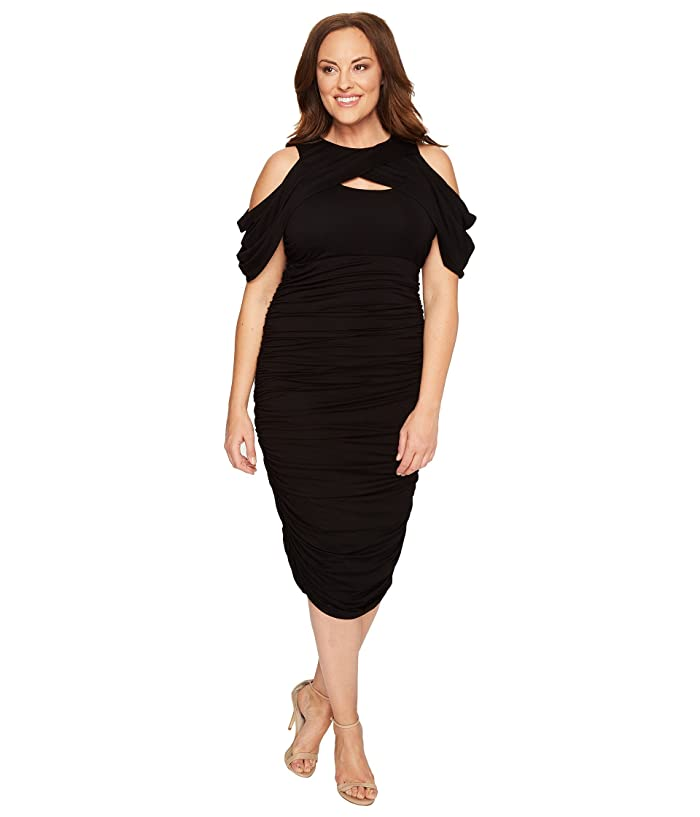 Kiyonna Bianca Ruched Dress (Black Noir) Women's Dress