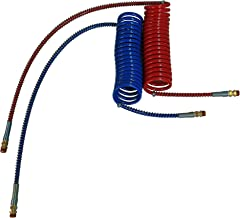 COILED AIR SET LINE ASSEMBLY RED & BLUE TRUCK TRAILER BRAKE COIL SET, 15' LENGTH; 1 X 12