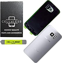 CELL4LESS Compatible Back Glass Cover Back Door w/Installed Camera Lens, Custom Removal Tool & Installed Adhesive Replacement for Samsung Galaxy S7 - All Models G930 - OEM Replacement (Silver)