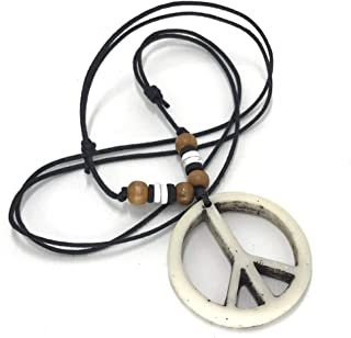 Peace Sign Necklace - Peace Symbol Necklace - Resin Peace Sign Pendant - Adjustable Black Cord