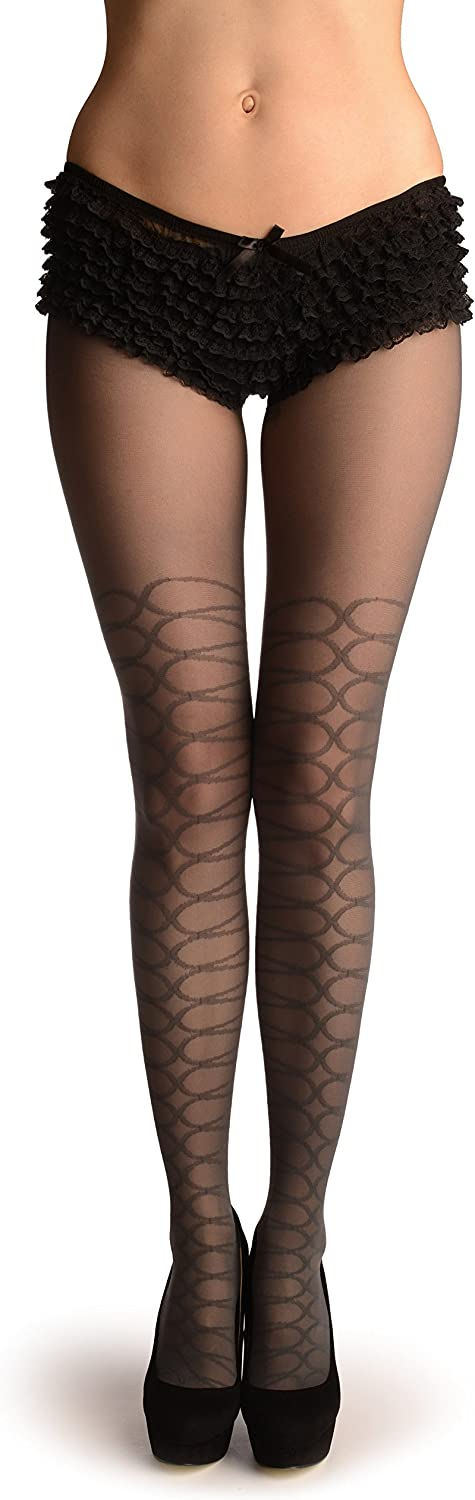 Grey With Woven Corset Faux Stockings - Pantyhose (Tights)
