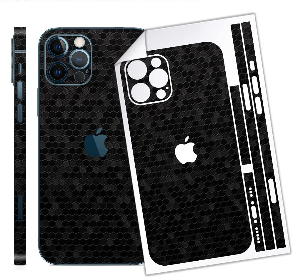 Bloom Skins for Apple iPhone 12 Pro Max | Luxury Black Honeycomb Protective Vinyl Skin Decal Full Body Wrap Film Premium Ultra Slim Cover Back Sticker with 3D Texture | Made in USA