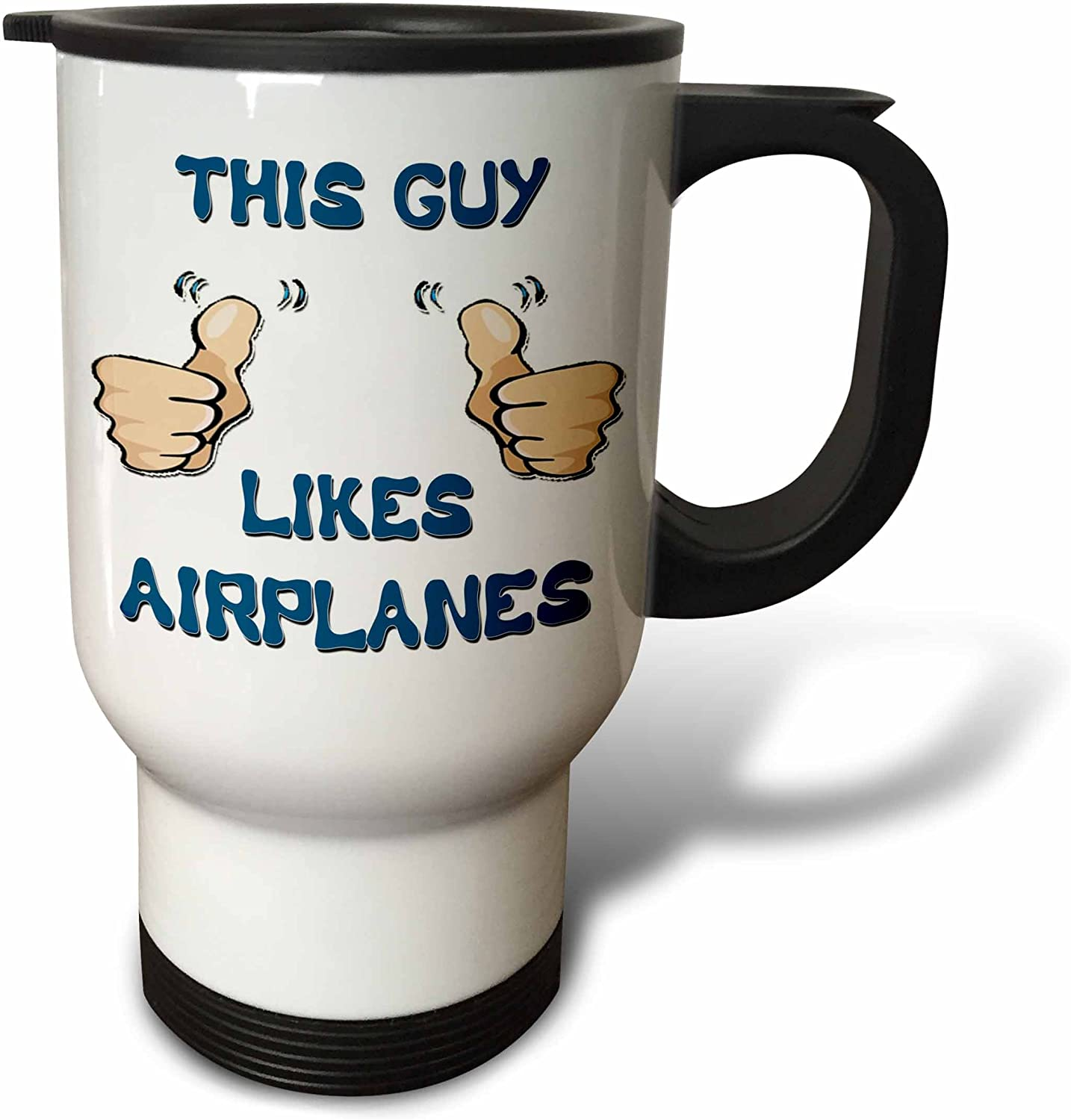 3dRose This Guy Likes Helicopters Travel Mug, 14-Ounce, Stainles