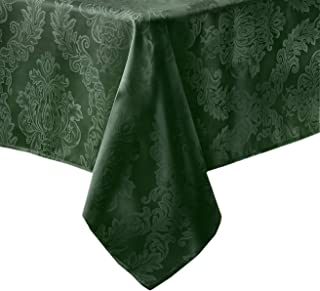 Newbridge Barcelona Luxury Damask Fabric Tablecloth, 100% Polyester, No Iron, Soil Resistant Holiday Tablecloth, 52 Inch x 70 Inch Oblong/Rectangle, Hunter Green