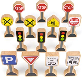 14-Piece Wooden Street Signs Playset for Kids, Compatible with All Major Train Brands, Block Sets, & Carpet Playmats by Im...