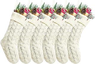 "Kunyida Pack 6,18"" Unique Ivory White Knit Christmas Stockings Style3"