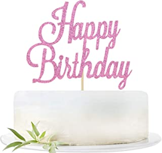 Pink Glitter Happy Birthday Cake Topper, Birthday Party Decorations Supplies