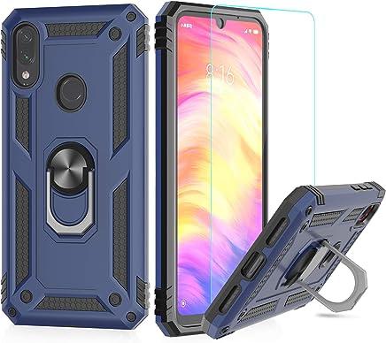 LeYi Funda XiaoMi Redmi Note 7 Armor Carcasa con 360 Anillo iman Soporte Hard PC y Silicona TPU Bumper antigolpes Fundas Carcasas Case para movil Redmi Note 7 con HD Protector de Pantalla,Azul