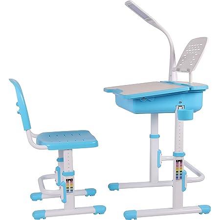 Leomark Bureau Ergonomique Avec Une Chaise et Lampe Pour Enfants Couleur Bleu Réglage En Hauteur - Tabouret d'Enfants Apprendre et s'Amuser Chambre d'Enfants Equipement de Salle Nouvelle Année Scolaire