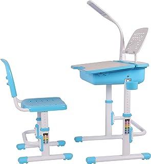 Leomark Bureau Ergonomique Avec Une Chaise et Lampe Pour Enfants Couleur Bleu Réglage En Hauteur - Tabouret d'Enfants Appr...