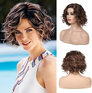 Kaneles Short Wavy Bob Wigs for Women Ombre Mixed Color Daily Party Synthetic Hair Wig Natural Looking + Free Wig Cap (Brown)
