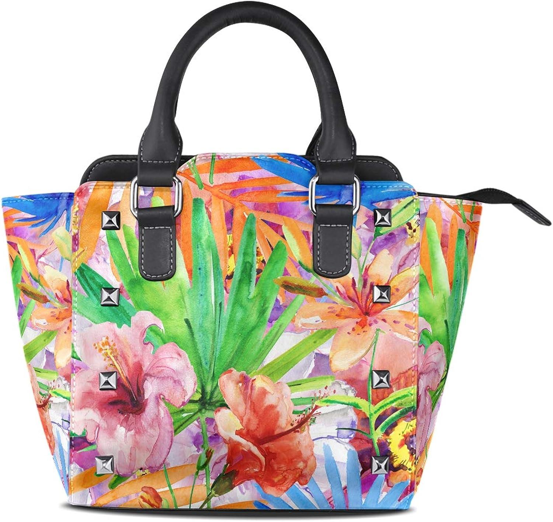 My Little Nest Women's Top Handle Satchel Handbag Watercolor Flowers Tropical Leaves Ladies PU Leather Shoulder Bag Crossbody Bag