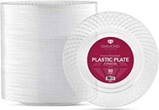 50 CRYSTAL CLEAR PLASTIC PLATES | 9 Inch Disposable Plates | Fancy Dinner Plates | Elegant Luncheon plates | Hard Round Party Plates | Heavy Duty Wedding Plates | Premium Catering Plates [Diamond]