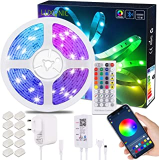 Ruban LED Bluetooth 15,5 M 50,8 pieds, LUXONIC LED Ruban RGB 5050 avec Contrôle d'App Télécommande IR 40 Touches et Boîte ...