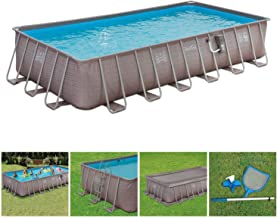 Summer Waves 24ft x 12ft x 52in Above Ground Rectangle Frame Pool Set, Brown