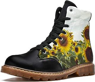 LORVIES Tournesols Bottes d'hiver Chaussures Montantes en Toile à Lacets pour Hommes
