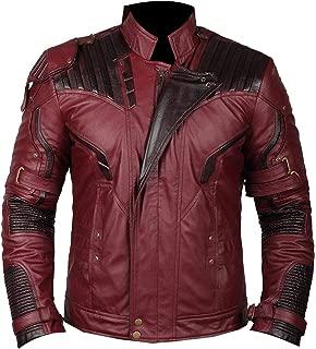 ST- Star Lord Chris Halloween Costume Red Jacket Distressed Biker Superhero Faux Leather Slim Fit Big Tall Boys Kids Size