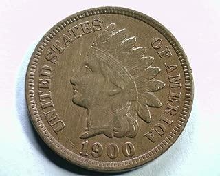 1900 U.S. Indian Head Cent Full LIBERTY Full Rim 1c Fine to XF