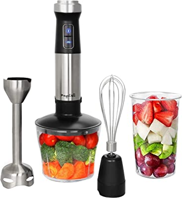 Megachef MC-158C 4 in 1 Multipurpose Immersion Hand Blender with Speed Control and Accessories, 4in1, Silver