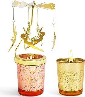 con angeli volanti ornamento per matrimoni in metallo dorato portacandele romantico design scandinavo feste Portacandele rotante decorazioni per la casa Maxjaa altezza 17,9 cm Natale
