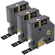 Unismar Compatible DYMO D1 Label Tape 45024 Labeling Cassette Labels Tapes for DYMO LabelManager 120P 210D 260P 360D 420P Series Label Maker Gold on Black 1/2