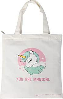 Unicorn Tote Bag - Reusable Canvas Shopping Bag, Grocery Bag, School Bag for Girls Women with Zipper and Inner Pocket