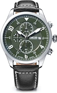 Time100 Mens Fashion Quartz Watch,Multifunctional Business and Leisure Watches with Three Sub Dial Chronograph Calendar and Genuine Leather Strap Watches