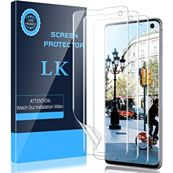 LK 3 Pack Screen Protector Compatible for Samsung Galaxy S10, Ultrasonic Fingerprint Compatible - Easy Installation Flexible Film HD Clear, Bubble Free