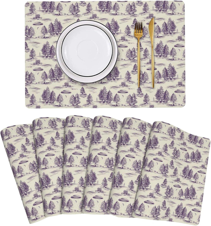 Special price Small Scale Purple Alien Abduction Super-cheap Placemats Leather Jouy De Set