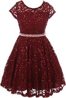 Cap Sleeve Floral Lace Glitter Pearl Holiday Party Flower Girl Dress Size4-14