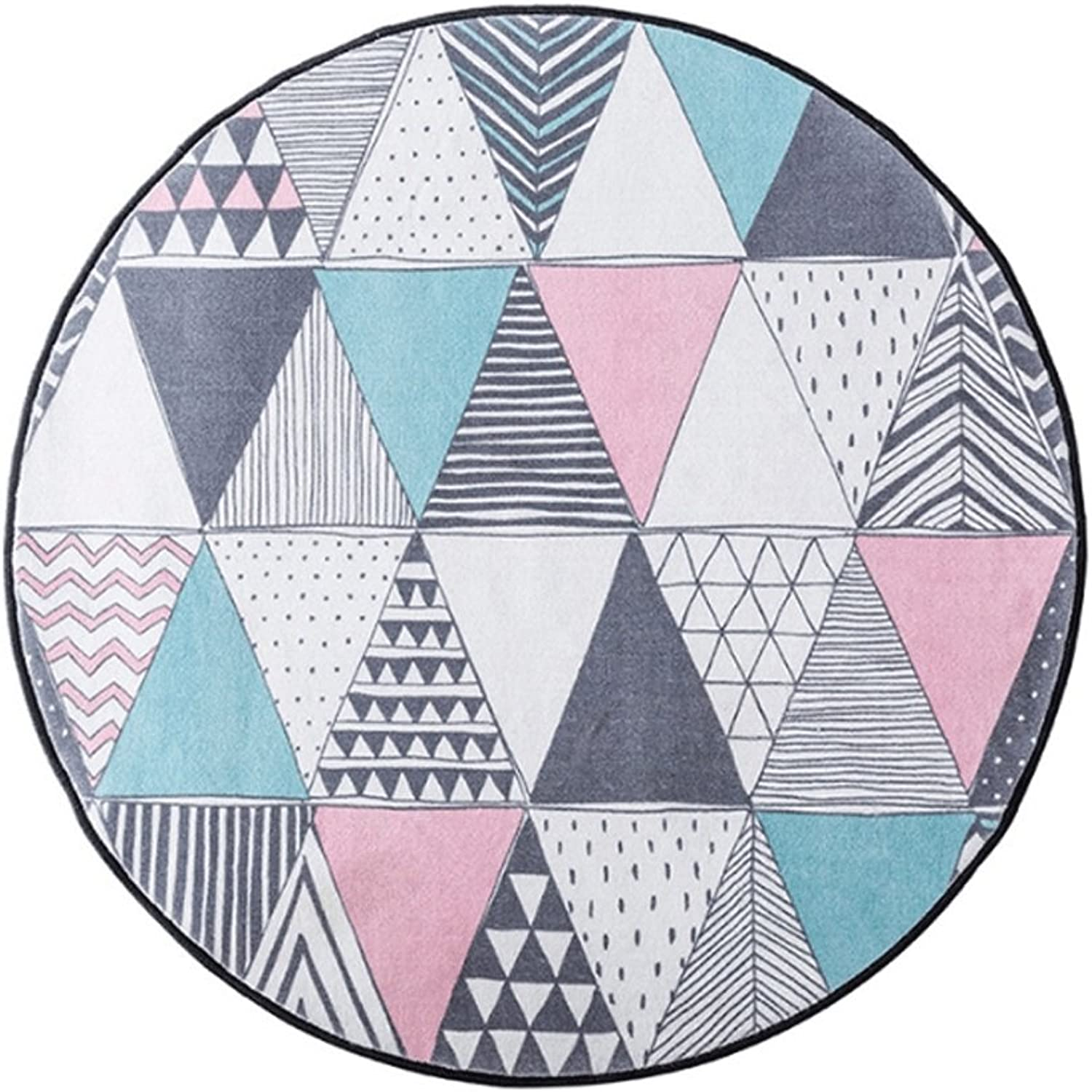 NJ Carpet- Geometric Round Carpet Parlor Coffee Table Mat Creative Marble Bedroom Computer Chair Upholstery (color   B, Size   100cm100cm)