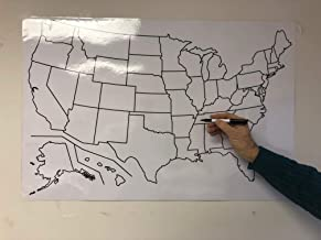 Copy King Blank US Map Laminated Dry Erase Poster, Reusable United States Map 24