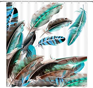 Colorful Feather Decor Shower Curtain Green Blue Black Brown Animal Feathers White Background,70x70 Inches Waterproof Polyester Fabric Bathroom Accessories Curtains with Hooks