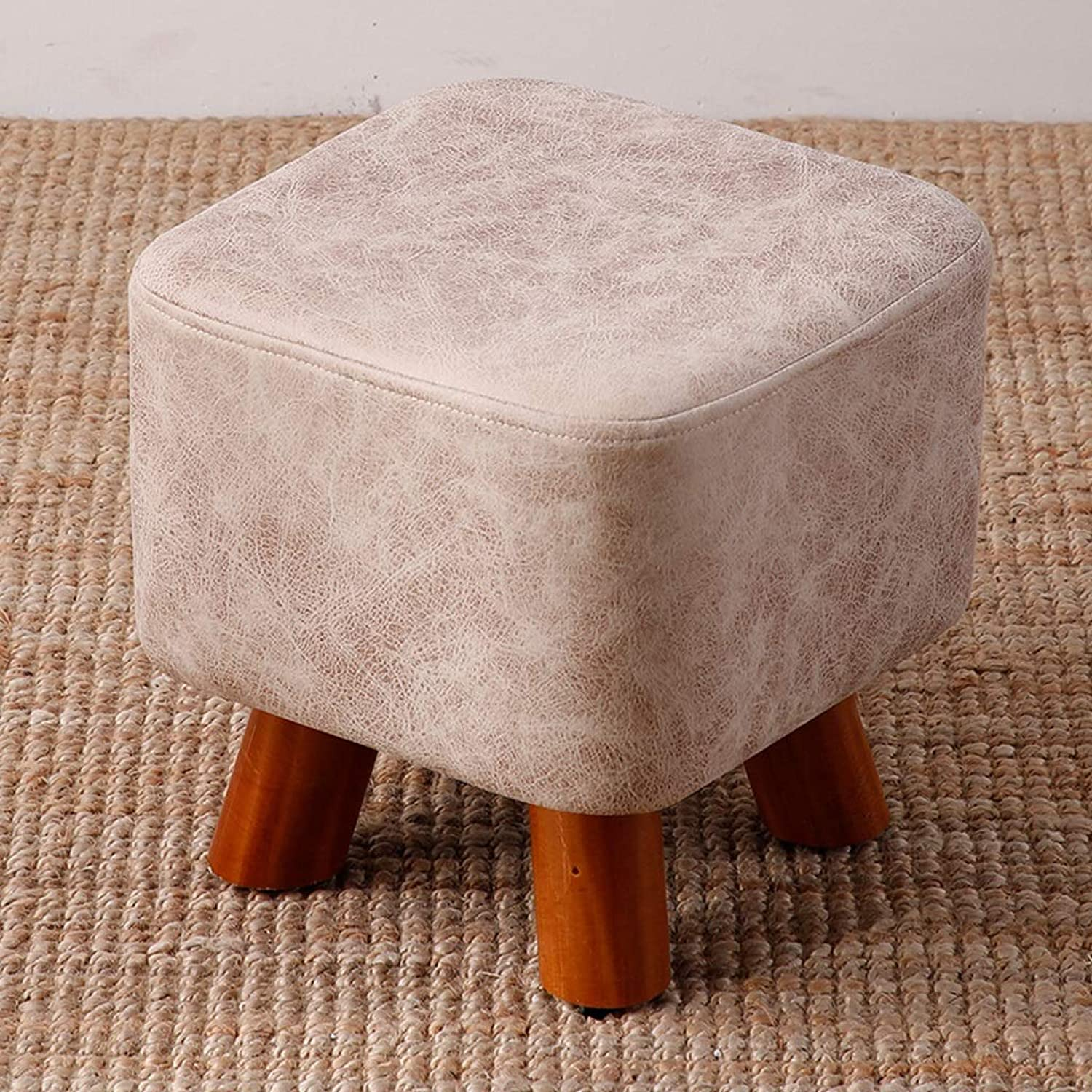 CXQ Modern Creative Stool Home Living Room Fashion Solid Wood Fabric Square Stool Sofa Stool Change shoes Bench White Bench (Size   M)