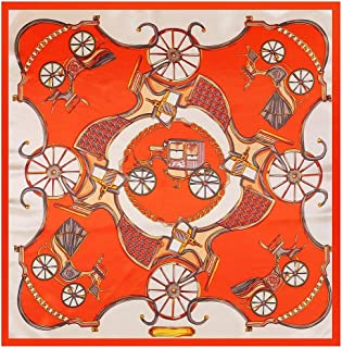GLJJQMY Retro Wheel Print Silk Scarf Silk Scarf 90 * 90cm Scarf (Color : Orange, Size : 90 * 90cm)