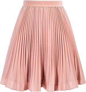 GRACE KARIN Girl's Pleated Elastic Waist A-line Flared Midi Skirt 6-12 Years